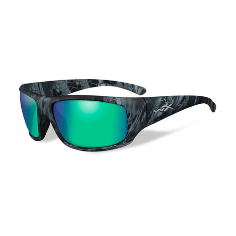 Wiley X Omega Sunglasses - Polarized Emerald Mirror Lens - Kryptek Neptune Frame [ACOME12]