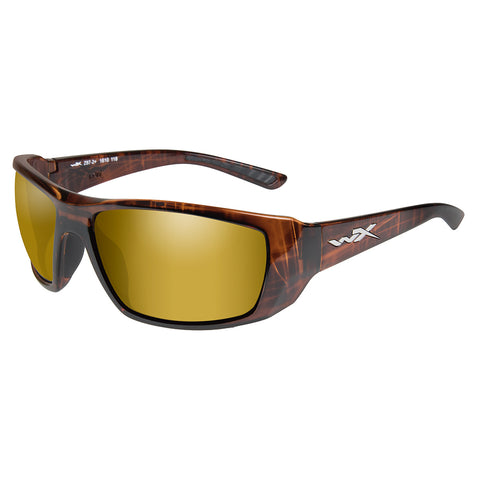 Wiley X Kobe Sunglasses - Polarized Venice Gold Mirror Lens - Gloss Hickory Brown Frame [ACKOB04]