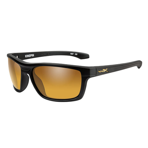 Wiley X Kingpin Sunglasses - Polarized Venice Gold Mirror Lens - Matte Black Frame [ACKNG04]