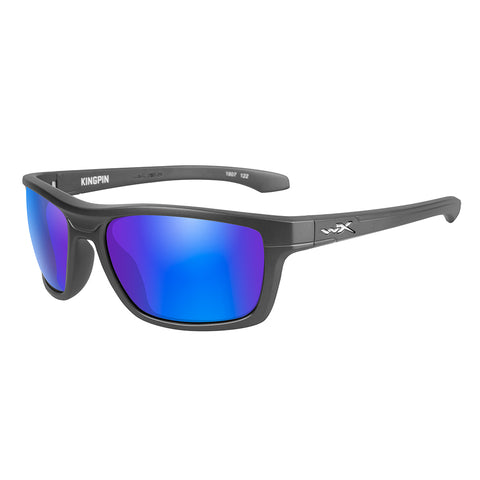 Wiley X Kingpin Sunglasses - Polarized Blue Mirror Lens - Matte Graphite Frame [ACKNG09]