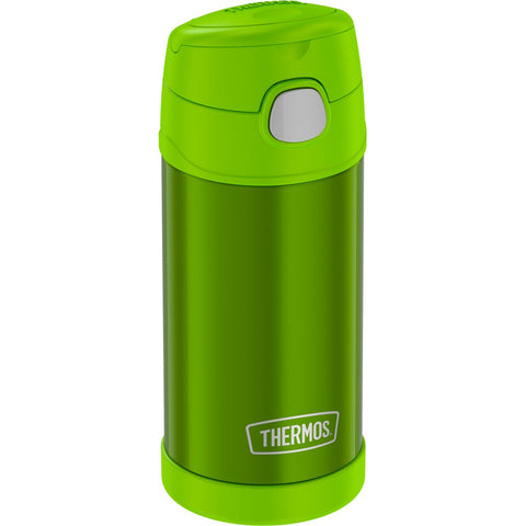 Thermos FUNtainer Stainless Steel Insulated Green Water Bottle w-Straw - 12oz [F4019LM6]