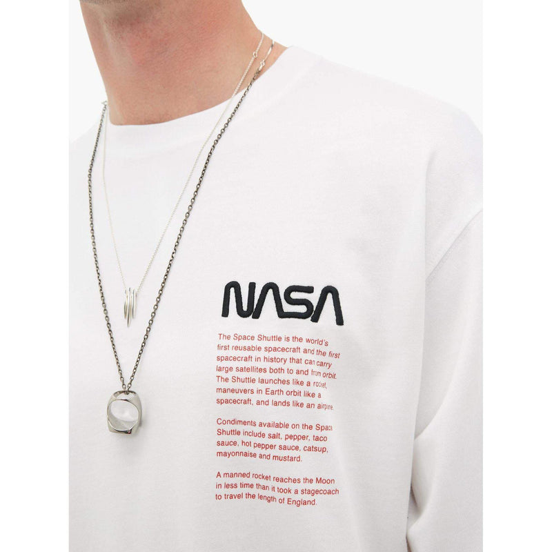 Heron Preston White Facts Long Sleeve T shirt - Waves Never Die