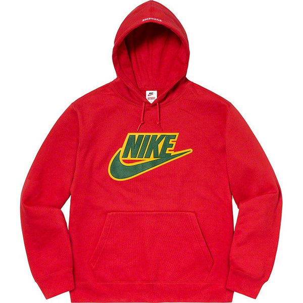 Supreme®/ Nike® Leather Appliqué Hooded Sweatshirt (Red)