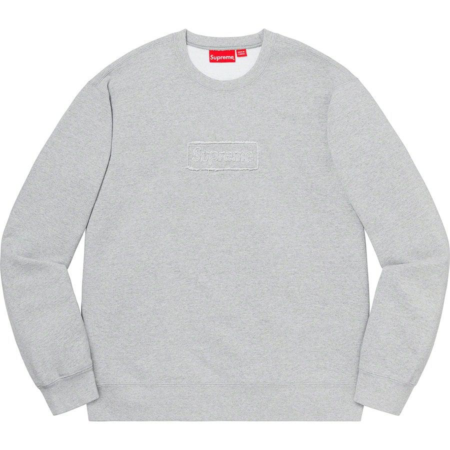 Supreme Cutout Logo Crewneck (Grey) | Waves Never Die | Waves Never Die