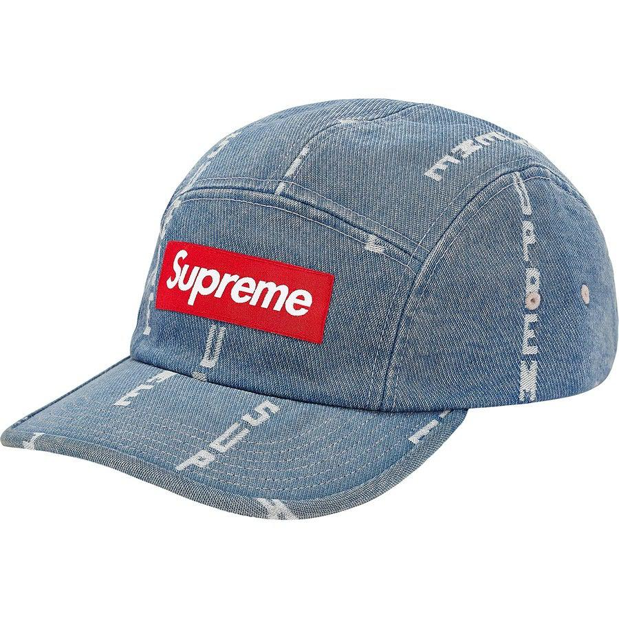Supreme Logo Stripe Jacquard Denim Camp Cap (Blue) | Waves Never Die | Supreme | Cap
