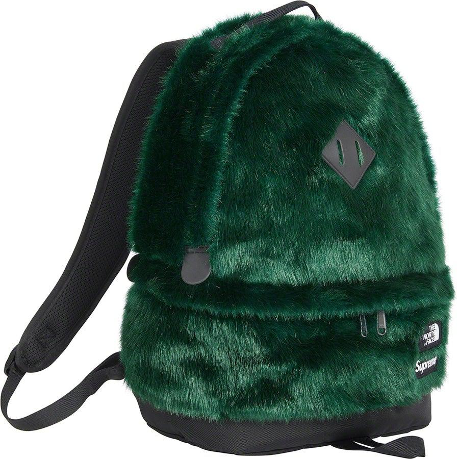 Supreme®/The North Face® Faux Fur Backpack (Green) | Waves Never Die | Supreme | Bag