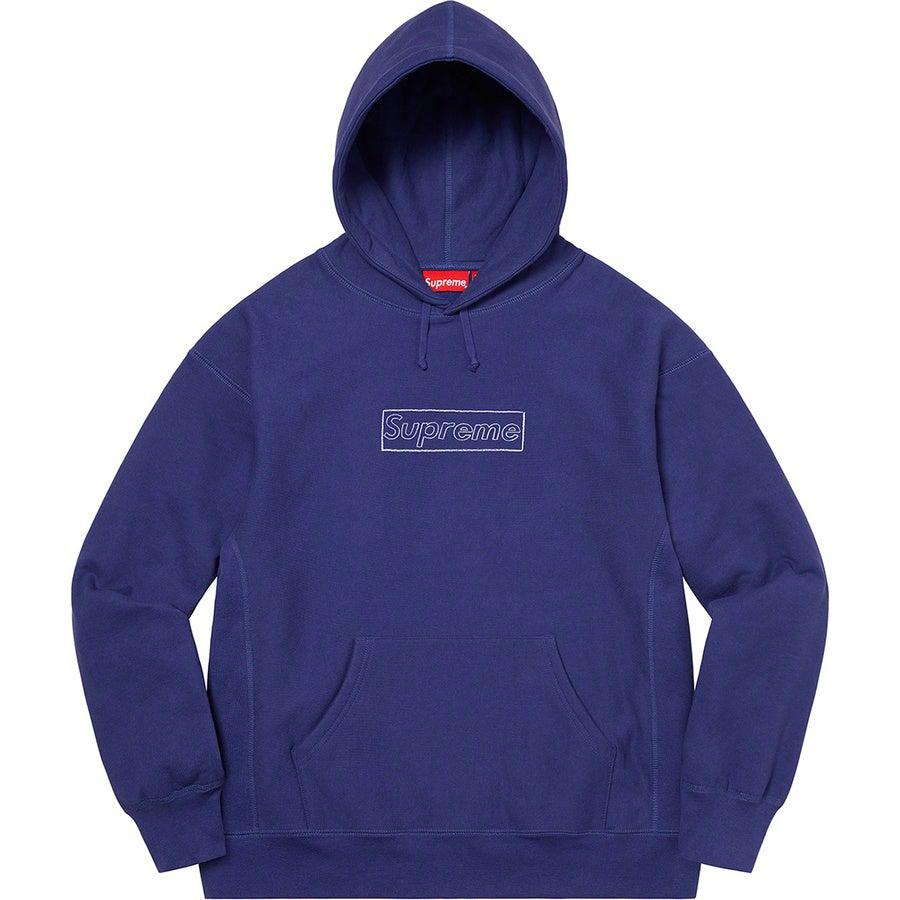 Supreme KAWS Chalk Logo Hooded Sweatshirt (Washed Navy) | Waves Never Die | Supreme | Hoodie