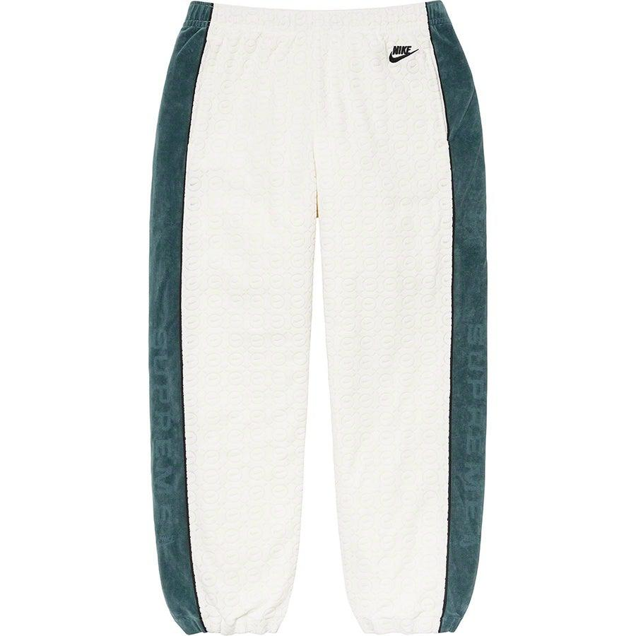 Supreme®/Nike® Velour Track Pant (White) | Waves Never Die | Supreme | Pants