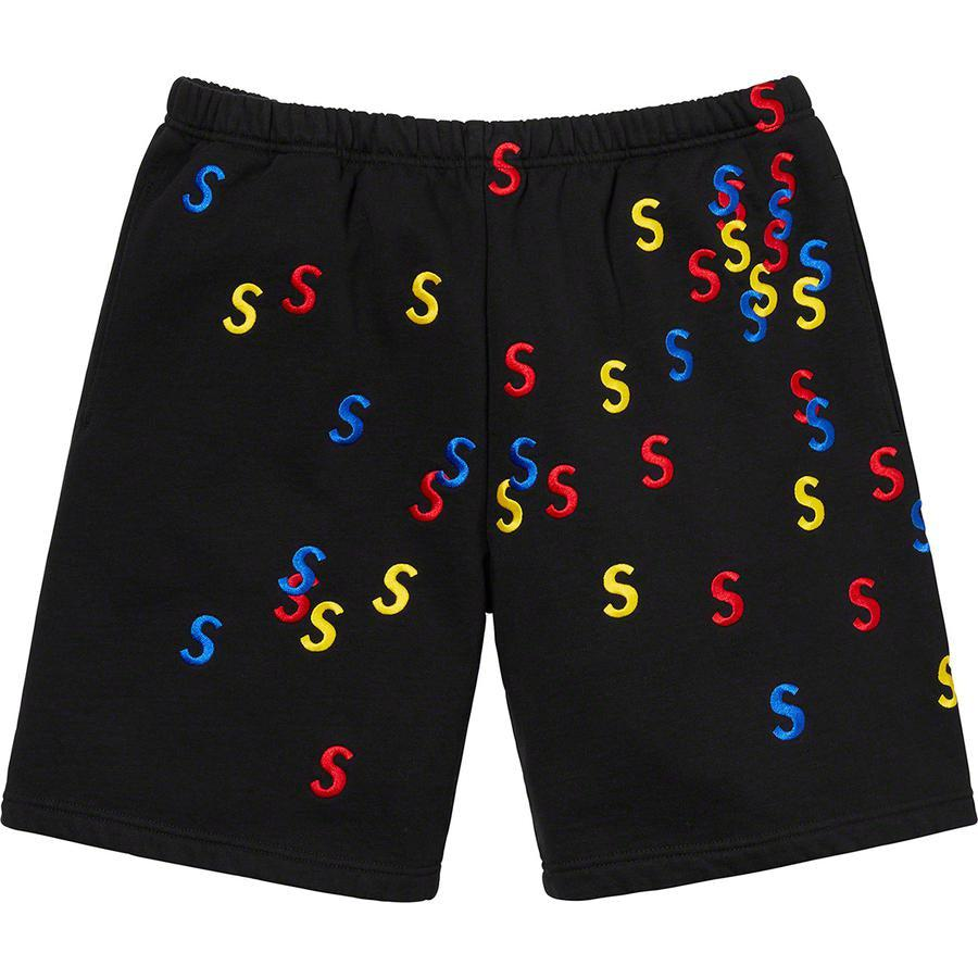 Supreme Embroidered S Sweatshort (Black) | Waves Never Die | Supreme | Shorts