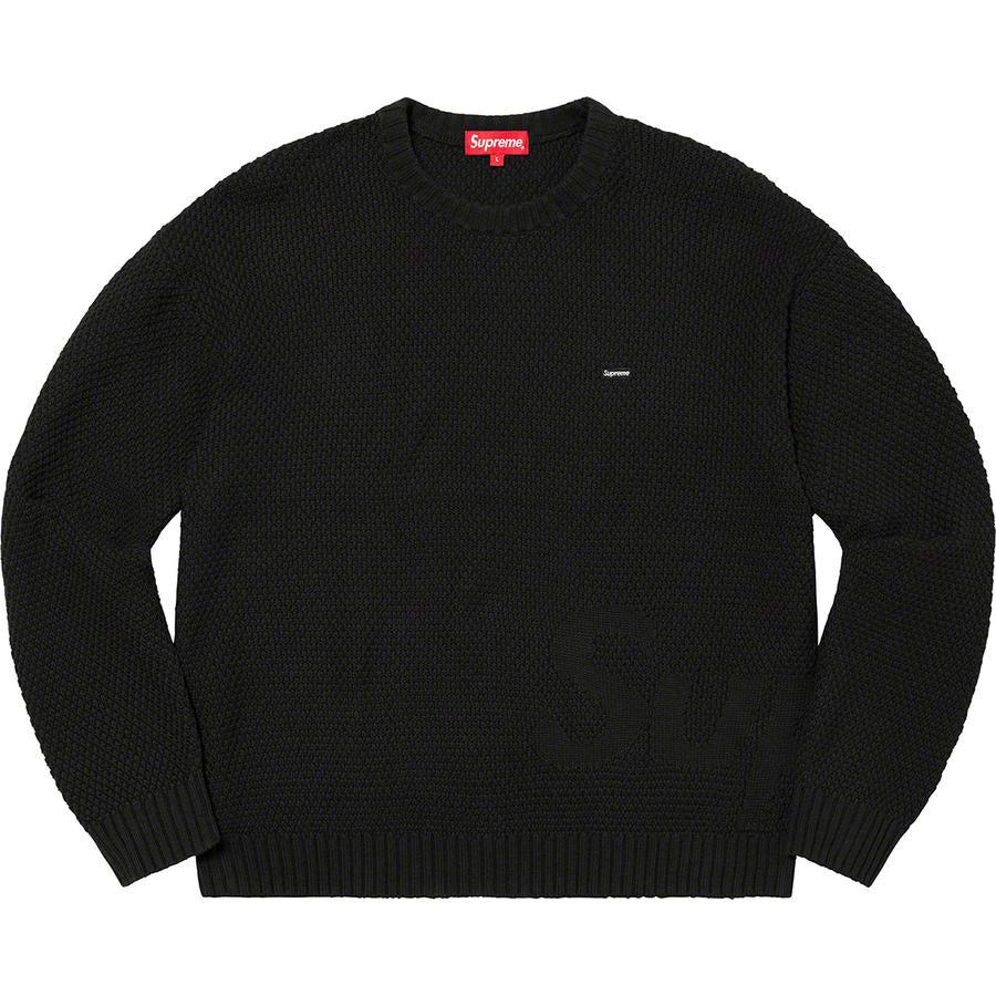 Supreme Textured Small Box Sweater(Black) | Waves Never Die | Supreme | Crews and Sweaters