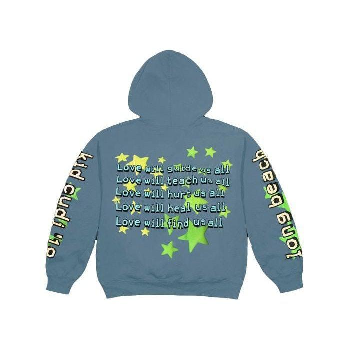 Cactus Plant Flea Market Kid Cudi Enter Galactic Hoodie Blue - Waves Never Die
