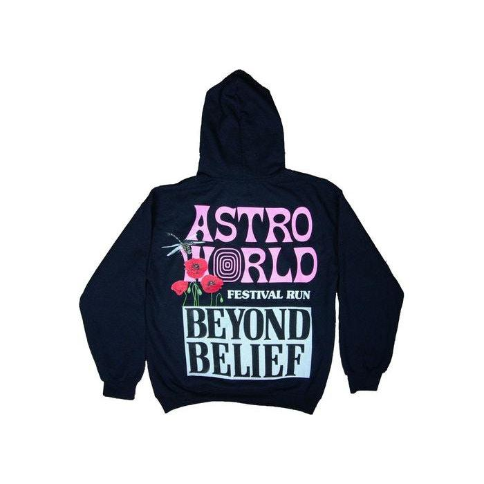 Travis Scott Astroworld Festival Run Beyond Belief Hoodie Black | Waves Never Die | Travis Scott | Hoodie