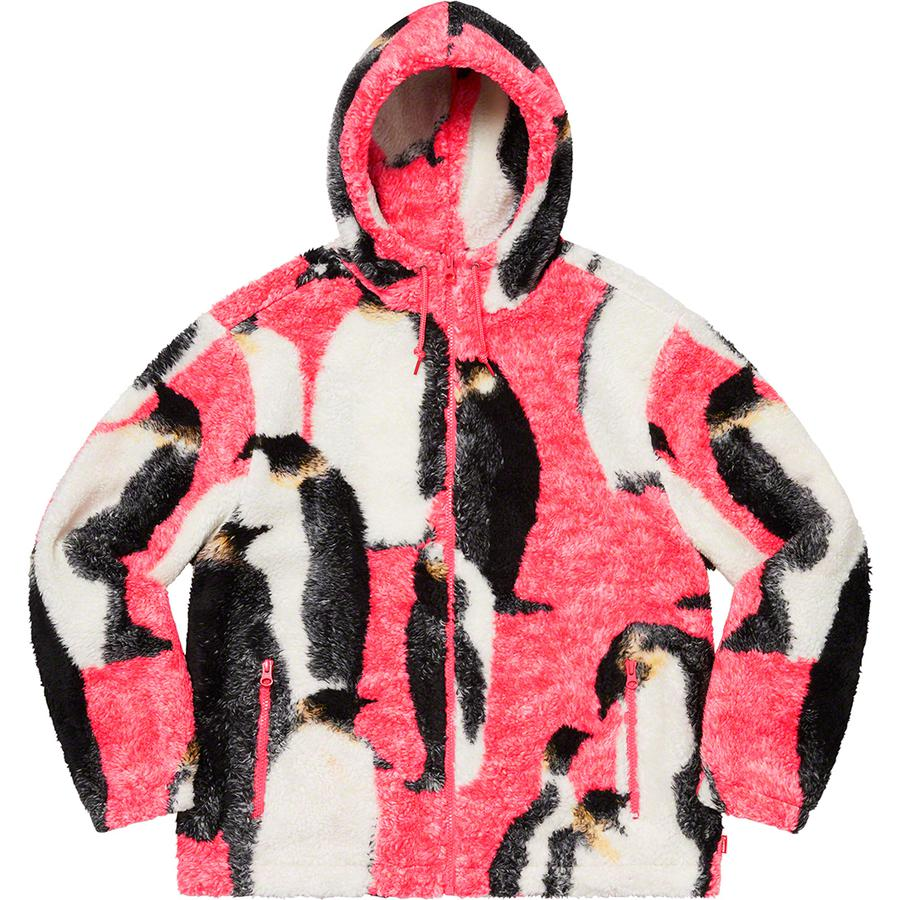 Supreme Penguins Hooded Fleece Jacket (Pink) | Waves Never Die | Supreme | Jacket