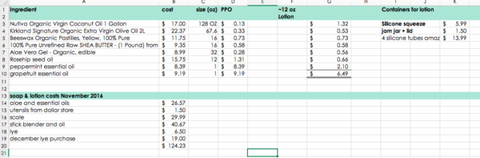 spreadsheet tracking of costs