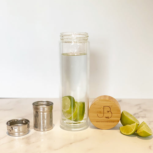 #WayBeyondWater Glass & Bamboo Bottle - Just Botanicals