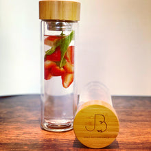 Load image into Gallery viewer, #WayBeyondWater Glass & Bamboo Bottle - Just Botanicals