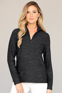Women's Greg Norman Play Dry® Heather 1/4-Zip Mock Neck