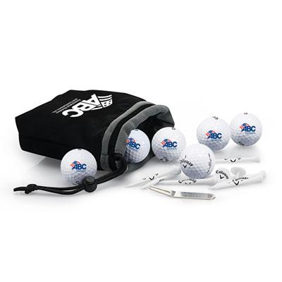 CALlAWAY 6 BALL FLEECE POUCH WITH CHROME SOFT X GOLF BALLS
