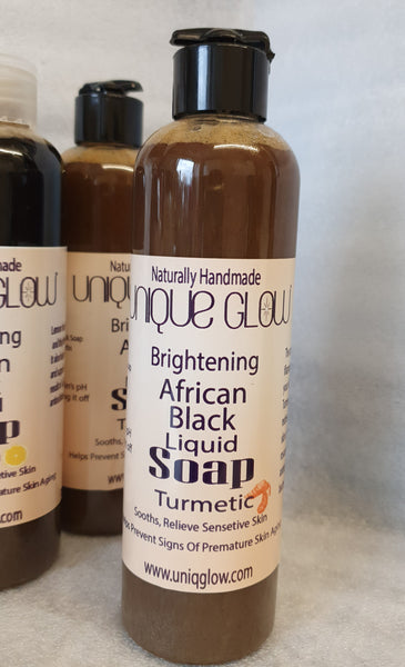 Brightening African Black Liquid Soap with Turmeric