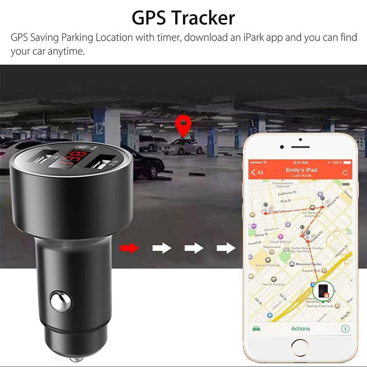 Car Charger Tracker 3.1A Dual USB Car Charger Adapter with GPS Locator for Cigarette Lighter Socket with LED Voltage Display (Car Finder Function & Parking Time Alarm)