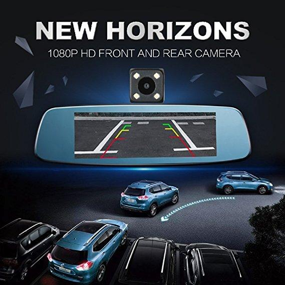"7.84"" Touch Special Car DVR Camera Mirror, 1080 FHD Front Camera and Rear"