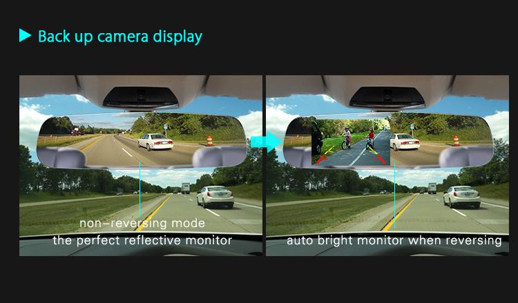 4.3 Inch Ultra High  Brightbess Display Rearview Mirror with Mirrorlink
