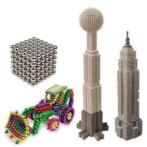 Magnetic Bars and Balls Construction Set, Puzzle Stacking Game Sculpture Desk Toys