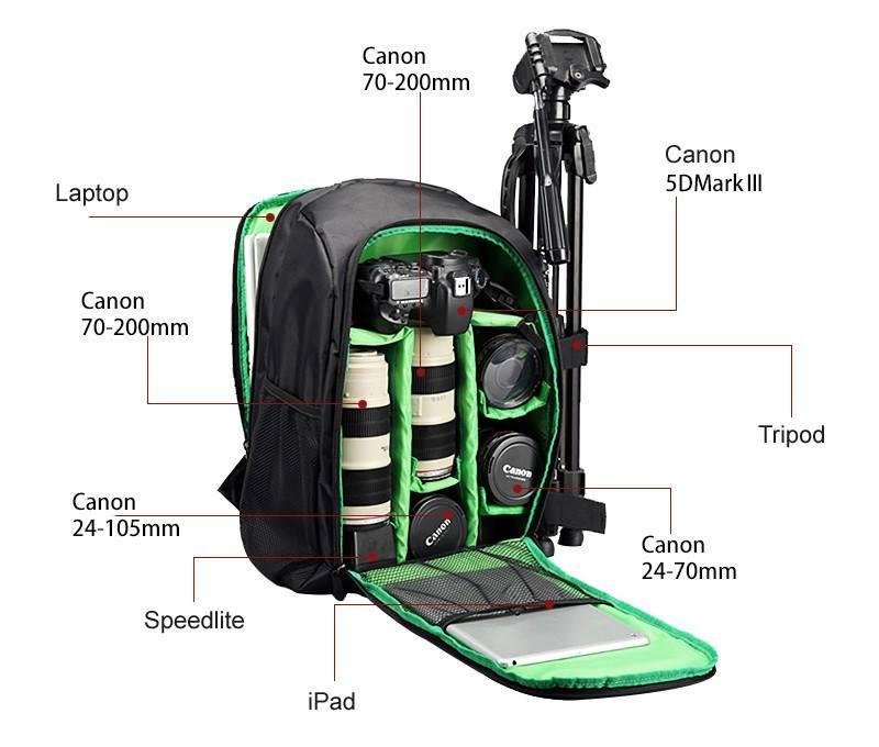 Waterproof DSLR Padded Camera Backpack with Rain Cover