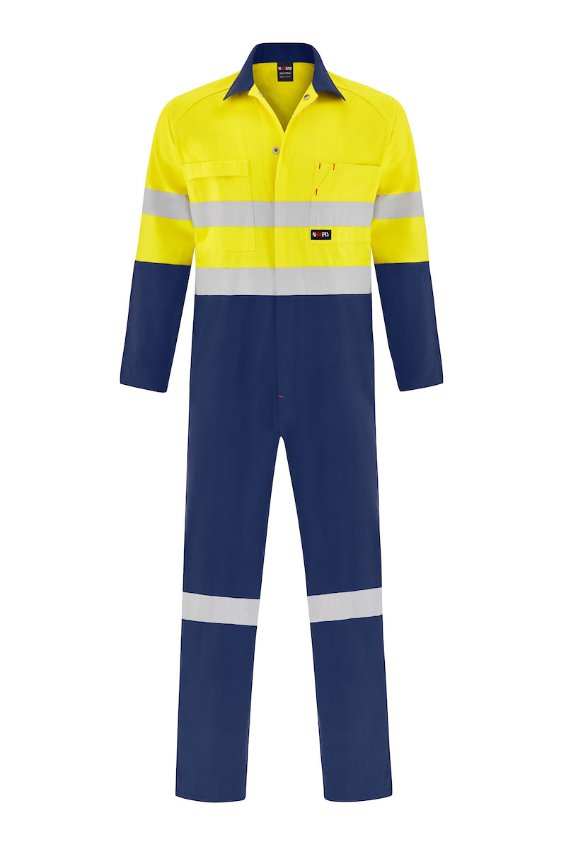 HIGH VIS HEAVY WEIGHT COTTON DRILL OVERALL (REFLECTIVE - TWO TONE)-Riggers Online Store