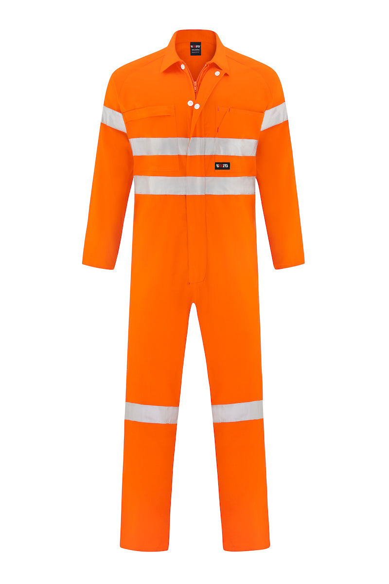 HIGH VIS LIGHT WEIGHT COTTON DRILL OVERALL (REFLECTIVE)-Riggers Online Store