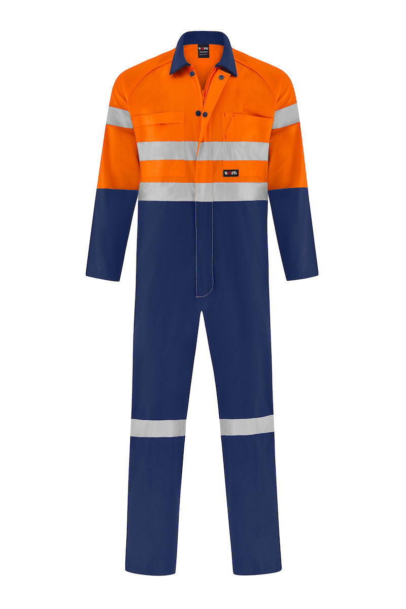HIGH VIS LIGHT WEIGHT COTTON DRILL OVERALL (REFLECTIVE - TWO TONE)