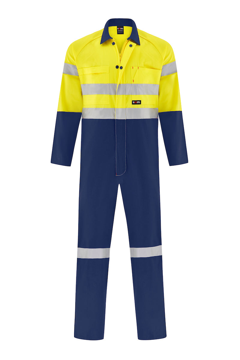 HIGH VIS LIGHT WEIGHT COTTON DRILL OVERALL (REFLECTIVE - TWO TONE)-Riggers Online Store