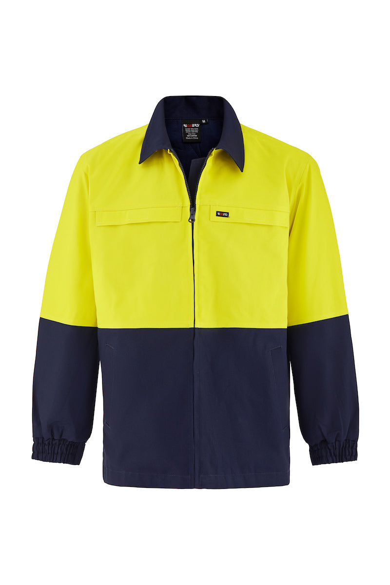 HIGH VIS HEAVY WEIGHT COTTON DRILL SAFETY JACKET (TWO TONE)