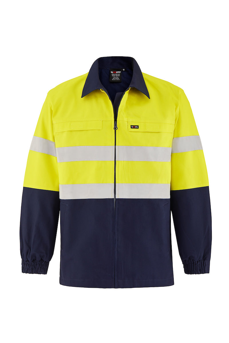 HIGH VIS HEAVY WEIGHT COTTON DRILL SAFETY JACKET (REFLECTIVE - TWO TONE)