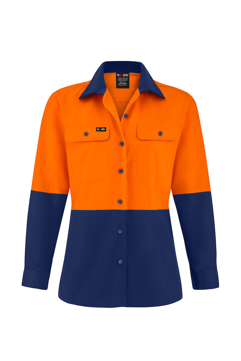 LADIES LONG SLEEVE COTTON DRILL SHIRT (TWO TONE)