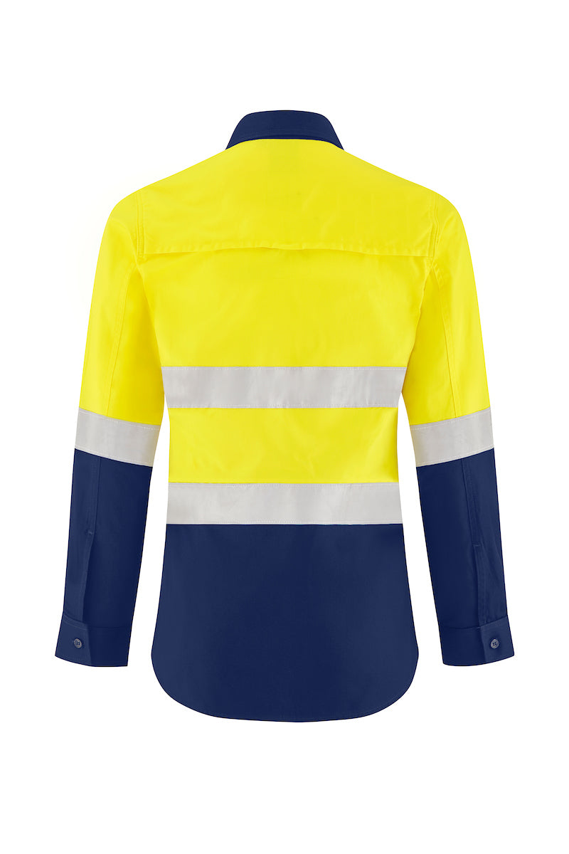 LADIES ULTRA COOL LONG SLEEVE COTTON VENTED SHIRT (REFLECTIVE - TWO TONE)