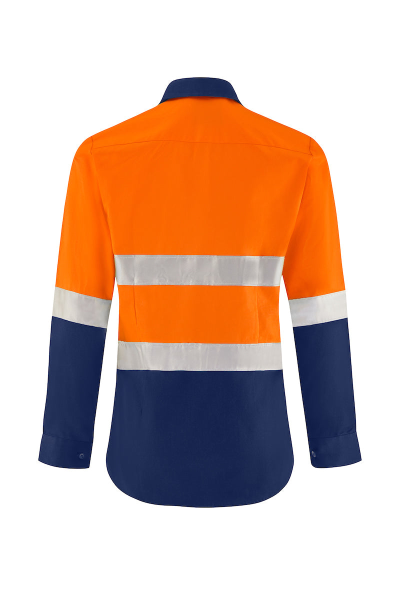 LADIES LONG SLEEVE COTTON DRILL SHIRT (REFLECTIVE - TWO TONE)-Riggers Online Store