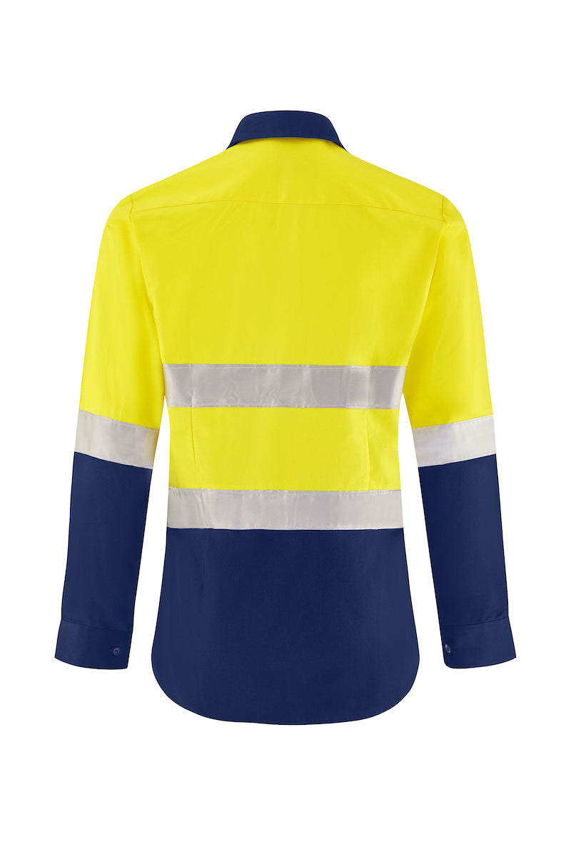 LADIES LONG SLEEVE COTTON DRILL SHIRT (REFLECTIVE - TWO TONE)