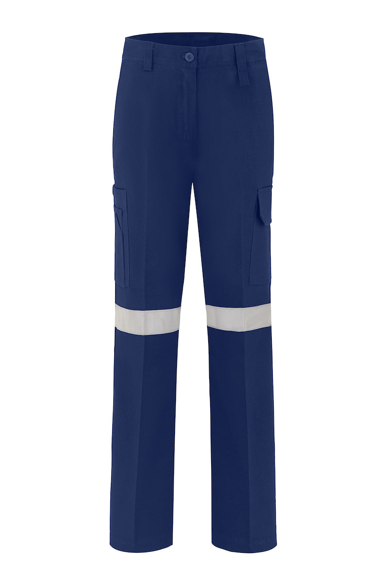 LADIES LIGHT WEIGHT COTTON DRILL TROUSERS (REFLECTIVE)
