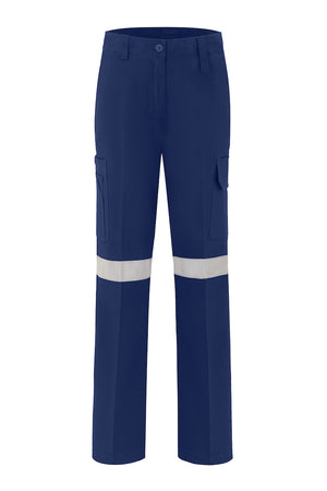 LADIES HEAVEY WEIGHT COTTON DRILL TROUSERS (REFLECTIVE)