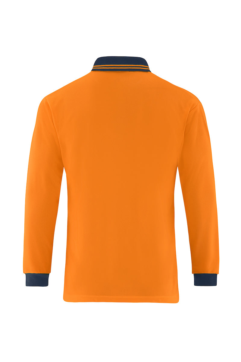 HIGH VIS LONG SLEEVE MICROMESH POLO (TWO TONE)