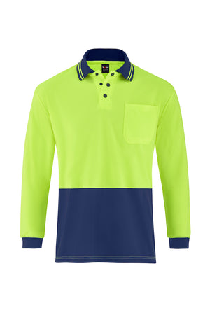 HIGH VIS LONG SLEEVE MICROMESH POLO (TWO TONE)-Riggers Online Store