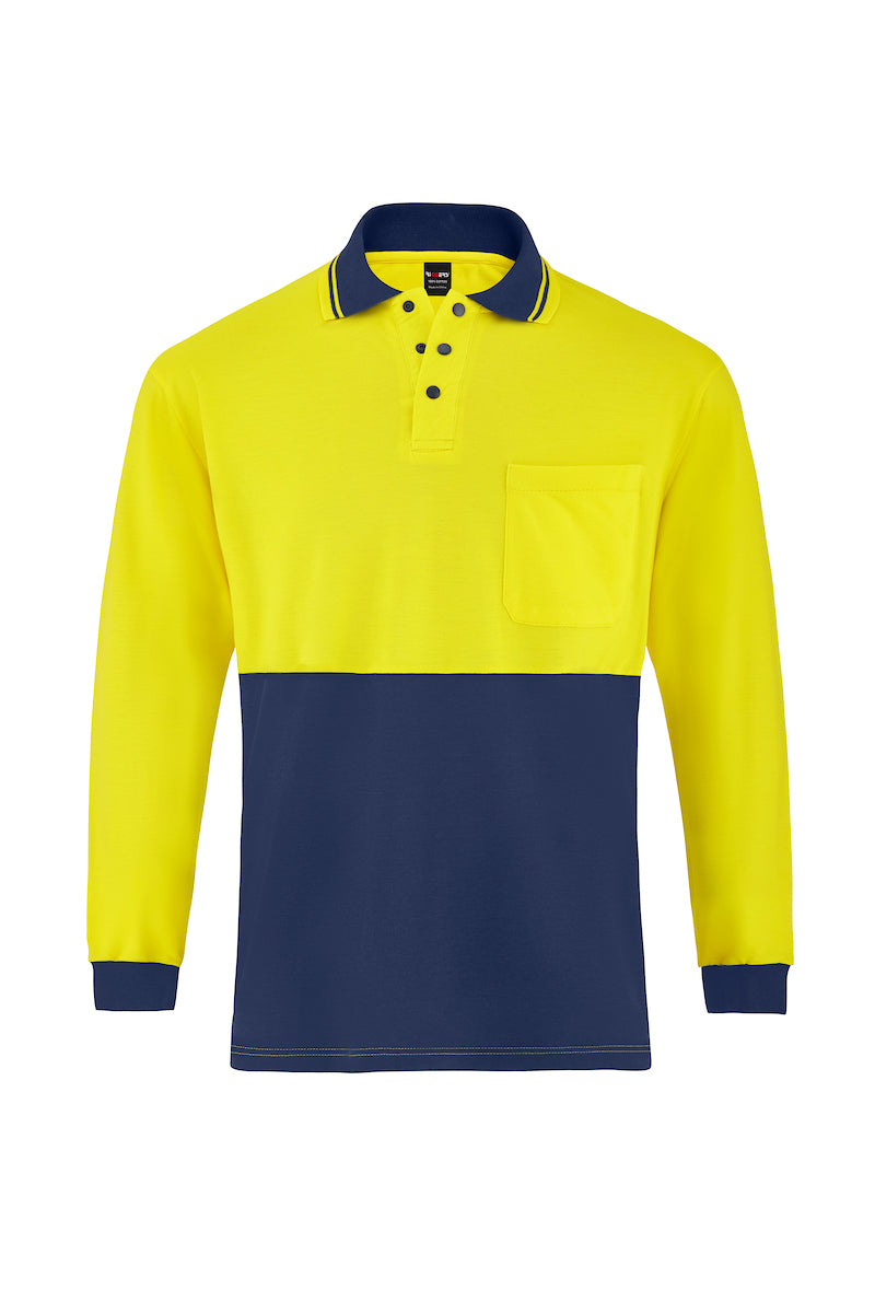 HIGH VIS LONG SLEEVE BAMBOO POLO (TWO TONE)-Riggers Online Store