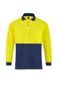 HIGH VIS LONG SLEEVE BAMBOO POLO (TWO TONE)
