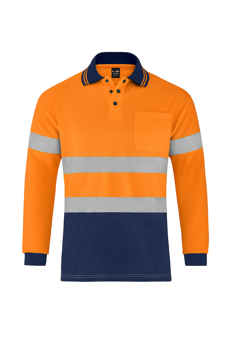 HIGH VIS LONG SLEEVE MICROMESH POLO (REFLECTIVE - TWO TONE)