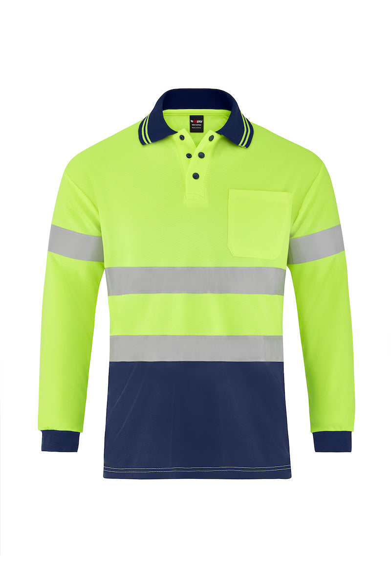 HIGH VIS LONG SLEEVE MICROMESH POLO (REFLECTIVE - TWO TONE)-Riggers Online Store
