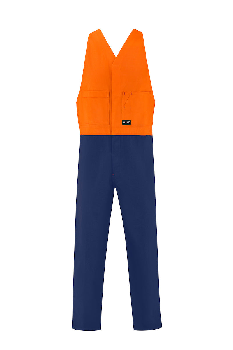 HIGH VIS HEAVY WEIGHT COTTON DRILL ACTION BACK OVERALL (TWO TONE)