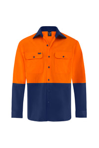 HIGH VIS ULTRA COOL LONG SLEEVE COTTON VENTED SHIRT (TWO TONE)-Riggers Online Store