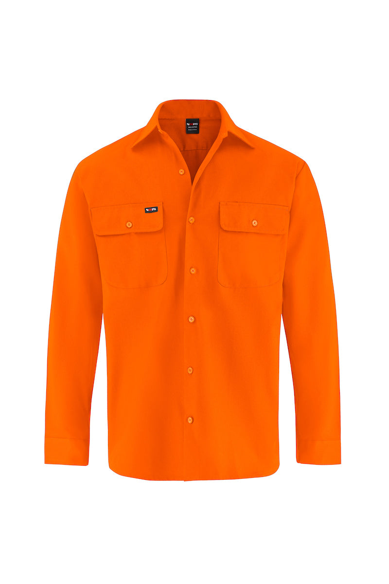 HIGH VIS LONG SLEEVE COTTON DRILL SHIRT