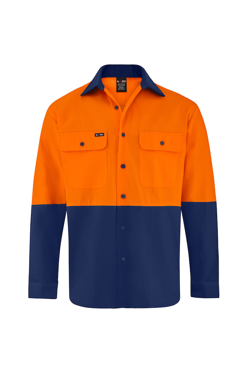 HIGH VIS LONG SLEEVE COTTON DRILL SHIRT (TWO TONE)